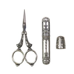 vintage sewing scissors NZ - European Vintage Sewing Kit Stainless Steel Scissors   Metal Thimble  Needle Case DIY Sewing Tools for Embroidery Cross Stitch