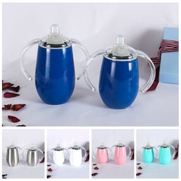 Tumbler Handle NZ - 12oz Stainless Steel Insulated Tumblers With Lid Egg Cups Double Wall Tumbler Coffee Mugs Wine Glass With Handle Christmas Gift DBC DH1092-1