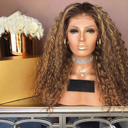 $enCountryForm.capitalKeyWord Australia - Ombre Curly Full Lace Wig Blonde Two Tone Color 1b# 30# Brazilian Full Lace Front Human Hair Wigs Kinky Curly With Baby Hair