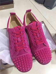 $enCountryForm.capitalKeyWord Australia - Rose Suede Red Bottom Studded Shoes Spikes Orlato Women's Flat Suede Low Top Junior Sneakers Handmade Genuine Leather Fashion Trainers Skate