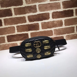 cartoon shape women bags Australia - 2019 Top Quality Brand design Letter Butterfly insect Metal Buckle V-shaped Waist bag Real Cowhide Leather Woman 476434 Chest bag