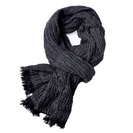 Striped Cotton Scarves Australia - 2018 luxury band scarf men solid cotton scarf female & male shawl wrap knit cashmere Striped long with tassels 190*80 cm
