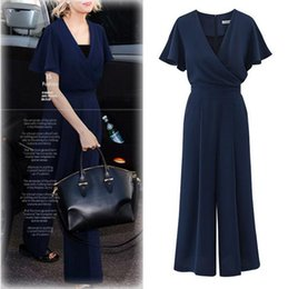 Wide Leg Jumpsuit Blue Australia - 2019 Shi Ying wide leg jumpsuit new explosion models Europe and the United States summer sexy Cross-skinny short-sleeved jumpsuit