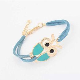 $enCountryForm.capitalKeyWord Australia - Owl Handmade Woven Bracelet Fashion Retro Bracelets For Women Men Bracelets Bangles Wedding Party Valentine's Day present