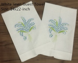 """$enCountryForm.capitalKeyWord Australia - Set of 12 Home Textiles White Linen Hemstitched Tea Towel -14x22""""Cloth Guest Hand Dish Kitchen Bathroom Towels embroidery Floral"""