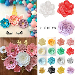 large flower backdrop UK - 1Pc 30cm Paper Flowers Artificial Large Rose Flowers DIY Crafts Birthday Party Home Backdrop Wedding Decoration Event Supplies