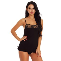 Sexy Babydoll Costume UK - Women solid sexy lingerie Lingerie Lace Babydoll Nightdress With G-string lace sexy underwear costumes exotic apparel