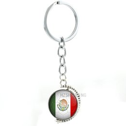 sports football key chains UK - TAFREE Ball fans mens keychain keyring Mexico Football Team double sides rotatable pendant key chain ring fashion sports jewelry N509