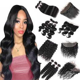Brazilian weave lace closure online shopping - 8 inch Brazilian Body Wave Bundles with Lace Frontal Peruvian Deep Wave Kinky Curly Human Hair Bundles with Closure Straight Closure