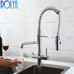 $enCountryForm.capitalKeyWord NZ - 2019 Rolya New Arrival High Quality Professional 3 Way Water Filter Tap with Sprayer Hose Clran Water Kitchen Faucets Sink Mixer