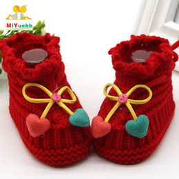 CroChet baby slippers online shopping - Baby Learn to walk boy girl crochet knitting line Bow shoes toddler shoes newborn months knitting baby soft slippers XZ9