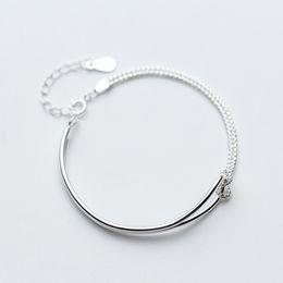 $enCountryForm.capitalKeyWord NZ - La MaxZa 925 Sterling Silver Bracelets Minimalist Simple Double Layer Hand Chain Bracelets For Women Girls Friendship Jewelry