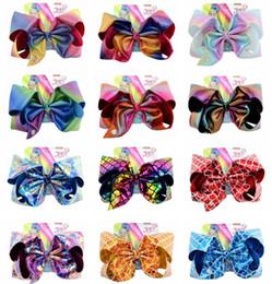 $enCountryForm.capitalKeyWord Australia - Children JOJO Hair Bow Laser Cloth Hairpins Mermaid Hairpin Large Bowknot Headdress Baby Girls Clips With Cardboard Hair Accessories