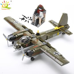 toy soldiers Australia - HUIQIBAO 559pcs Military Ju-88 bombing plane Building Block WW2 Helicopter Army weapon soldier model bricks kit Toy for children CX200706