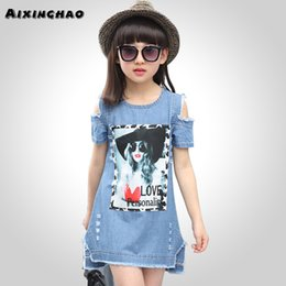 $enCountryForm.capitalKeyWord Australia - Aixinghao Children Dresses For Girls Casual Denim Strapless Dress Girls Summer Teenage Cartoon Pattern Girls Denim Clothes 8 10 MX190725