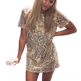 Wholesale polka shirt dress work for sale – plus size Sequins Gold Dress Summer Women Sexy Short T Shirt Dress Evening Party Elegant Club Dresses