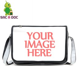 red messenger bag for school Canada - Customize Your Image Messenger Bag PU Leather Crossbody Bag Shoulder Bags for Teenage Girls Boys School Waterproof Travel Bags