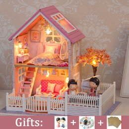 Large Housing Australia - DIY Large Doll house Miniature DollHouse Model PINK CHERRY BLOSSOMS with Dust Cover Wooden Toys Girl Birthday Christmas Gift
