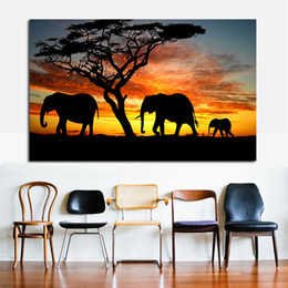 $enCountryForm.capitalKeyWord Australia - 1 Pcs Tree African Elephant Sunset Landscape Painting Print on Canvas Animal Art Wall Picture Artwork for Living Room Decor No Frame
