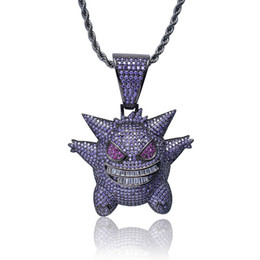 $enCountryForm.capitalKeyWord UK - Full Purple Rhinestone Gengar Pendant Necklace Creative Hip Hop Bling Bling Ice Out Jewelry With 24 Inch Chain Drop Shipping