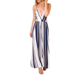 Chinese  2019 Summer Women Modern Lady Striped Side Spliced High Waist Skinny Long Jumpsuits Lady Off Shoulder Sexy Bodycon Bodysuits manufacturers