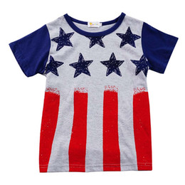 Red Striped T Shirt Wholesale NZ - Cotton Children Printed T-shirt American Flag Independence National Day USA 4th July Red Striped Stars Round Neck Print Short Sleeve T-Shirt