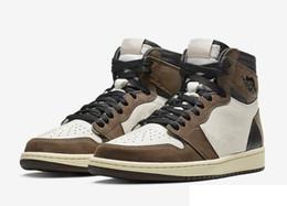 Custom boots online shopping - New Travis Scott High OG Cactus Jack Man Designer Basketball Shoes Custom I Sail Black Dark Mocha University Red Woman Fashion Trainers