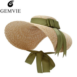 straw boater hats UK - Gemvie Trendy Floppy Large Straw Hat For Women Wide Brim Sun Hats Ribbon Bow Lady Beach Cap Capeline Boaters Weave Hat Fedora Y19052004