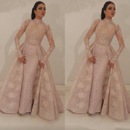 $enCountryForm.capitalKeyWord Australia - 2019 High Neck Mermaid Prom Dresses With Detachable Train Blush Pink Full Lace Appliqued Long Sleeves Formal Evening Gowns Arabic Dresses