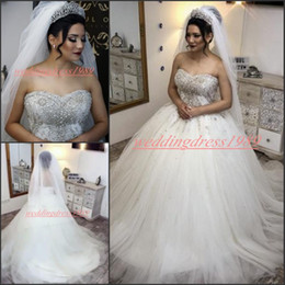 Natural Coral Beads Australia - Beautiful Sweetheart Beads Crystal Wedding Dresses 2019 Arabic Plus Size Country Said Mhamad vestido de noiva Cheap Bridal Gown Ball Bride
