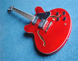 $enCountryForm.capitalKeyWord NZ - Free shipping Custom 1959 Alvin Lee Big Red 335 Semi Hollow Electric Guitar '60s Dark Brown Neck, Little White Block inlay, Black Pickguard,