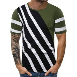 Mens lined shirts online shopping - Designer Casual Pure Color Line Pallened Mens Shirts Designer Crew Neck Short Sleeve Vintage Tops Men Casual Tees
