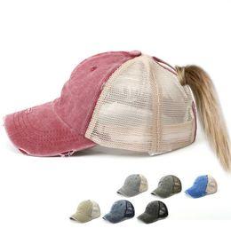 Cap ClassiC hats baseball online shopping - Washed Baseball Cap Unisex Ponytail Hat Vintage Dyed Low Profile Adjustable Caps Classic Plain Mesh Hats Dad Snapback GGA2315