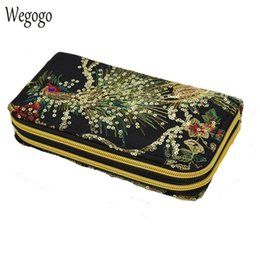 $enCountryForm.capitalKeyWord Australia - New Women Clutch Bag National Double-sided Peacock Embroidery Purse Canvas Long Wallet Two Zipper Mobile Phone Small Coin Bags