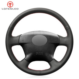$enCountryForm.capitalKeyWord Australia - LQTENLEO Black PU Artificial Leather Hand Sew Car Steering Wheel Cover for Civic 2000 - 2005 Civic Hybrid 2003 Stream 2001