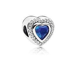 da4a2c52b Wholesale 20pcs Blue Ocean Heart Charm Sterling Silver European Charms Bead  Dangle Fit Pandora Bracelets Snake Chain Fashion DIY Jewelry