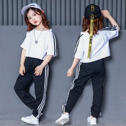Belly T Shirts Australia - Child Loose Ballroom Jazz Hip Hop Dance Competition Costumes Girls White T Shirt Pants Stage wear Party Dancing Outfits Suits