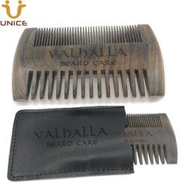 $enCountryForm.capitalKeyWord Australia - MOQ50 pcs Good Quality Fine & Coarse Teeth Blackwood Comb in Leather Case Custom LOGO Dual Sides Ebony Black Wood Combs Hair Beard Comb