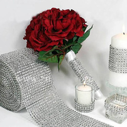 wholesale diamond mesh roll UK - Silver Diamond Rhinestone Flower Mesh Wrap Roll Crystal Rhinestone Sparkle Ribbon DIY Cake Roll Wedding Party Decorations