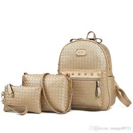 $enCountryForm.capitalKeyWord Australia - 2 Pcs Knitting Bags Set Women Bag Fashion School Bags For Girls Backpacks For Women Nice Pop Shoulder Bags Ladies Backpack