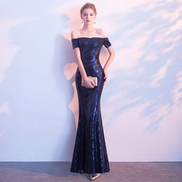 $enCountryForm.capitalKeyWord UK - 2019 elegant noble mermaid evening dress strapless accessories sequins shiny party dress long skirt banquet clothes