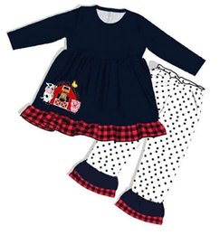 baby girls black dress set Australia - Farm Baby Outfits Girls Boutique Clothing Set Black Long Sleeves Dresses Kids Pants Children Clothes Y200325