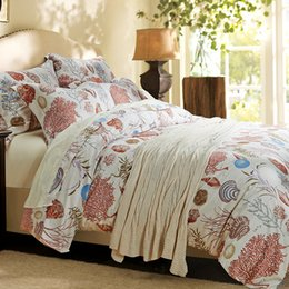 Egyptian Cotton King Size Duvet Canada - CHAUSUB Ocean Style Silk Bedding Set 4PCS Satin Egyptian Cotton Duvet Cover Set Bed Cover King Queen Size Bed Sheets Pillowcase