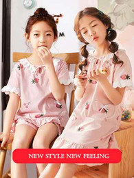 Long Nightdresses Cotton Australia - Girls Nightdress Short-sleeved Lovely Spring And Summer Cotton Children's Pajamas Baby Girl Summer Princess Home Service Parent-child 0303