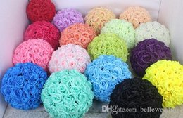 bulk wholesale artificial christmas flowers NZ - 15cm Rose Kissing Balls For Wedding Silk Flower Ball Decorative Artificial Flowers Multi Colors Options Pomander Balls KB-002