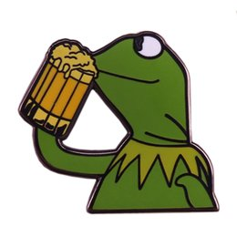 enamel pin badges UK - Kermit drinking beer enamel pin Meme frog brooch none of my business funny badge gift creative pop culture accessory
