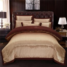 bedsheets bedding Australia - Coffee Satin Bedding sets Duvet cover bedsheets set Cotton Bed Sheet Queen King size Bed set parure de lit ropa de cama