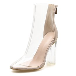rubber cover boot shoes Australia - Women's Shoes Boots Back Zipper Cool Boots Transparent Crystal High With With Sexy Sandals
