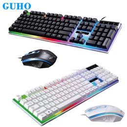 Vente en gros GUHO G21 USB filaire Gaming Gaming Clavier et Souris 1600DPI Ordinateur Mechanical Feel Clavier Rétro-Éclairé Souris Set teclado clavier