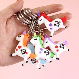 Cartoon 3d Movie Australia - New 3D Cartoon Cute Silicone Unicorn Keychain Horse Key Rings Holder Alloy Key Chain For Woman Girls Gift